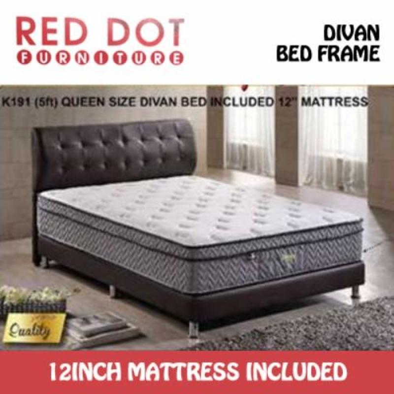 Red Dot Furniture Divan Bed Frame with 12 inch Pocketed Spring Mattress