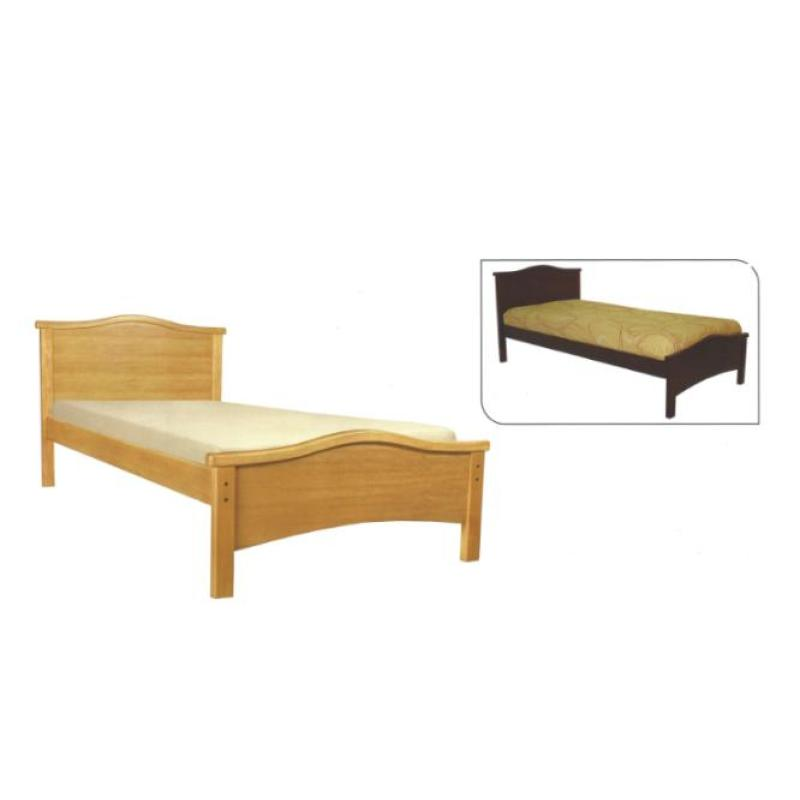 Red Dot Wooden Bed Frame Solid Mahogany Finish Super Single Dark Brown