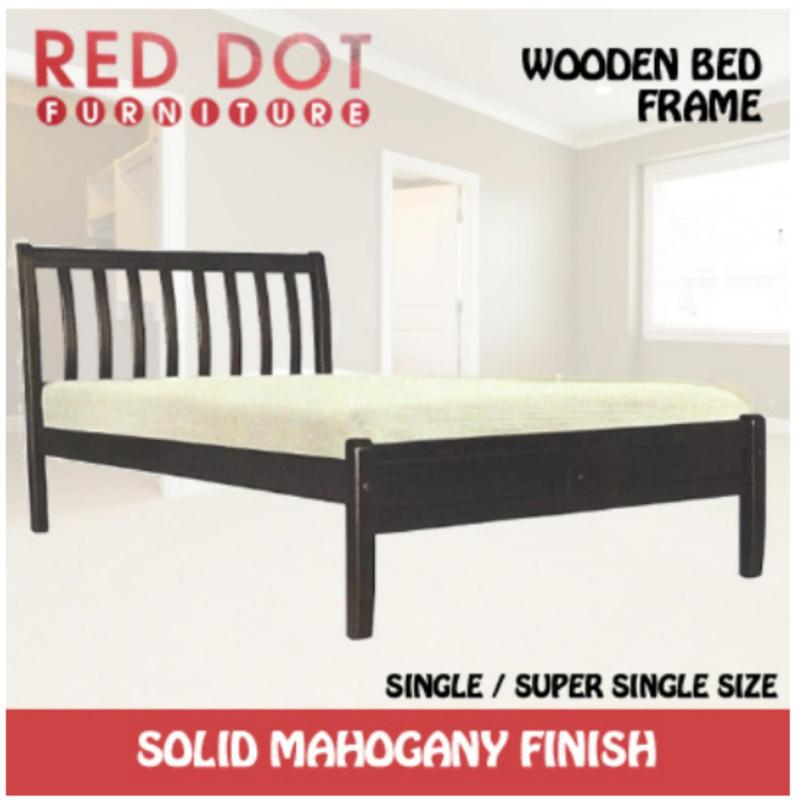 Red Dot Wooden Bed Frame Super Single Solid Mahogany Finish Light Brown