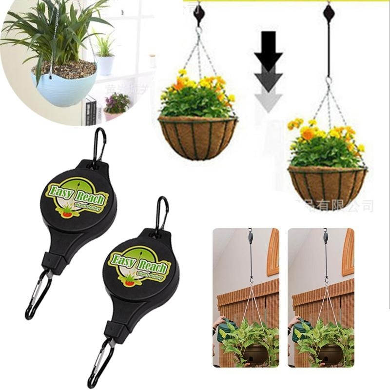 Retractable Pulley Hanging Basket Pull Down Hanger Garden Hook Easy Reach - intl