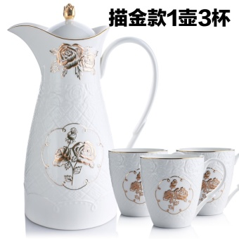Rose Flower relief cold water pot romantic pastoral new bone china juice pot home-high temperature large capacity cool water pot