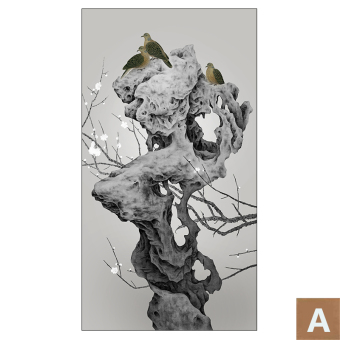 Shi Niao Figure New Chinese Decorative Painting Entrance Lucky Zen Feng Shui Meaning Vertical Version