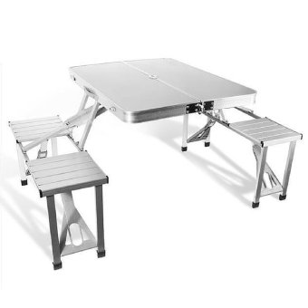 shoppy foldable picnic table with 4 seat chrome