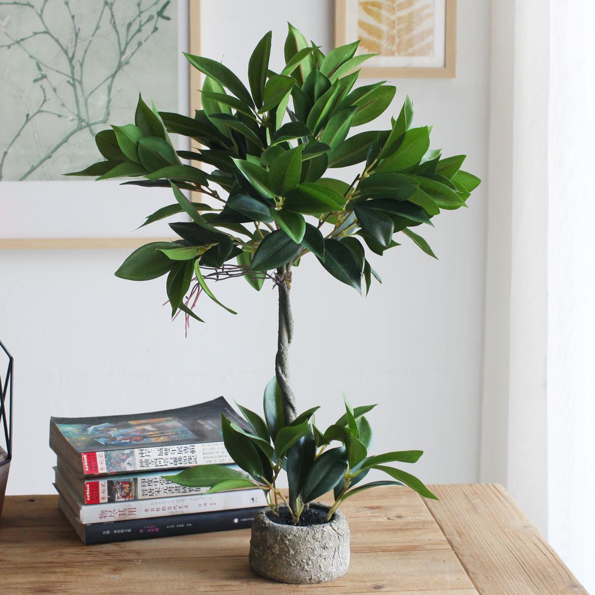 office bonsai. Sicily Plants Simulation Green Plant Laurel Leaf Potted Fern Bonsai Office Decorative Tree Ornaments