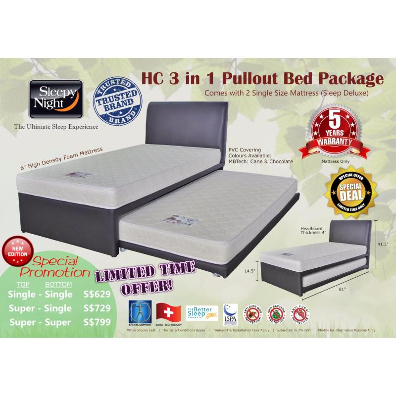 Sleepy Night 3 in 1 Pullout Bed Package - Single Top/Bottom, Sleep Deluxe 6 (Cane)