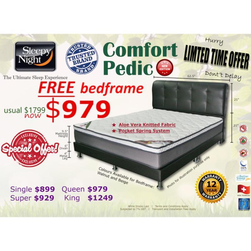Sleepy Night Comfort Pedic Pocket Spring Mattress + Free Bedframe