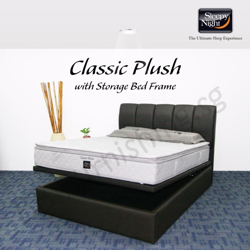 Sleepy Night (King) Classic Plush Mattress with Jacinta Storage Bedframe