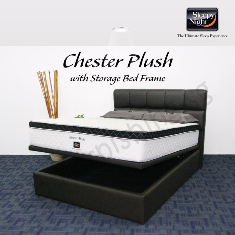 Sleepy Night (Queen) Chester Plush Mattress with Jean Storage Bedframe