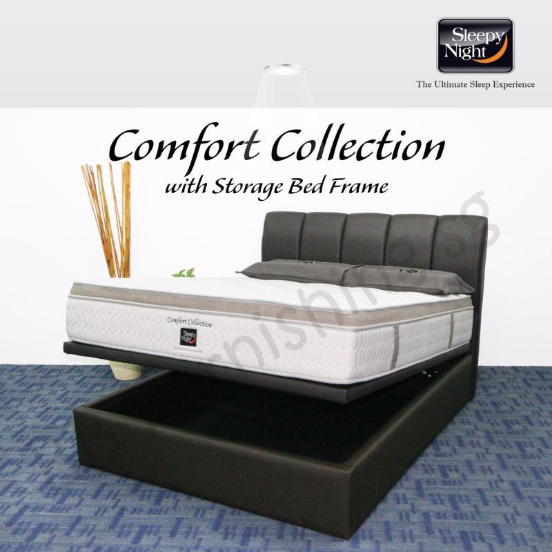 Sleepy Night (Queen) Comfort Collection Mattress with Jacinta Storage Bedframe