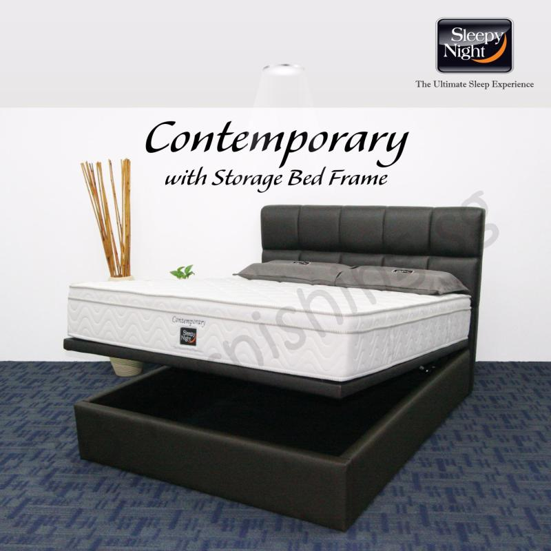 Sleepy Night (Queen) Contemporary Mattress with Jean Storage Bedframe