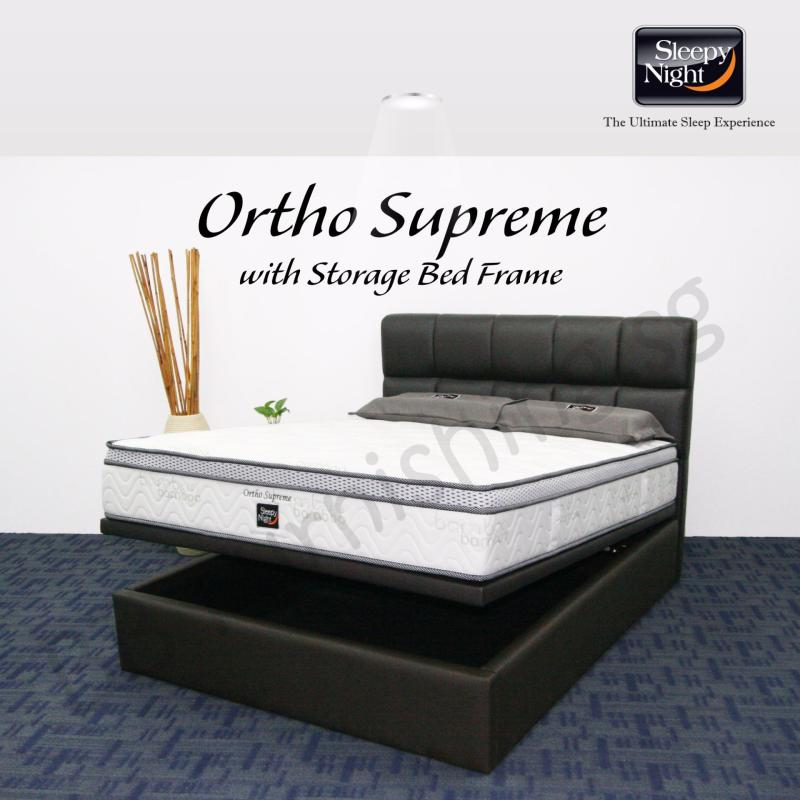 Sleepy Night (Queen) Ortho Supreme Mattress with Jean Storage Bedframe