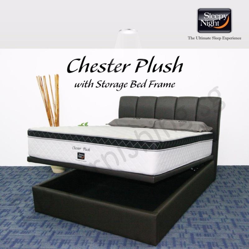 Sleepy Night (Single) Chester Plush Mattress with Jacinta Storage Bedframe