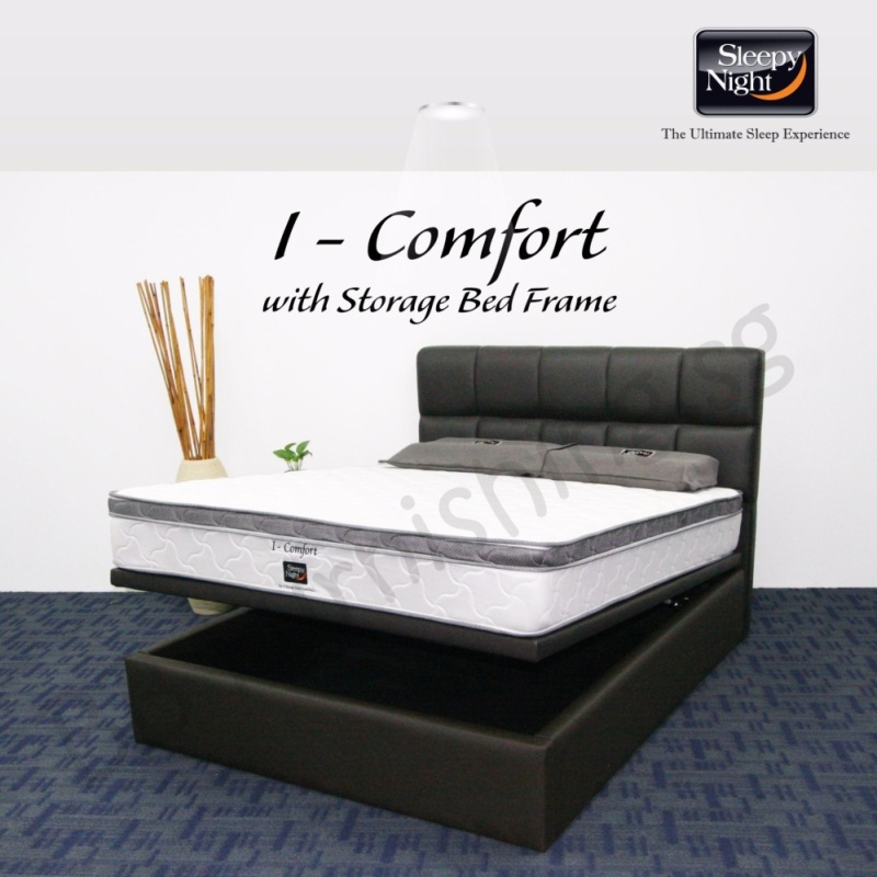 Sleepy Night (Super Single) I Comfort Mattress with Jean Storage Bedframe