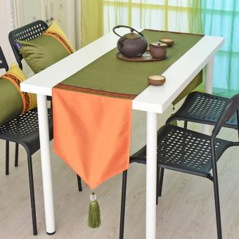 Southeast Asia Orange Green Taffeta Lace Tea Room Living Dining Table Flag Bed TV
