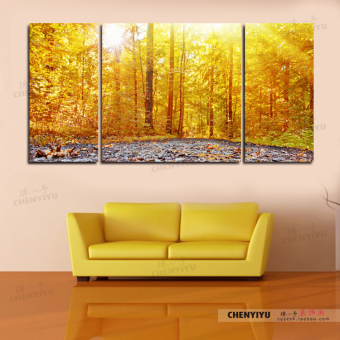 Sun Tree Bar Theme Living Room Triple Painting Landscape