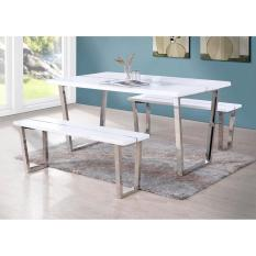 T001 White Matt Furnishing Dining Table With Two Long Benches