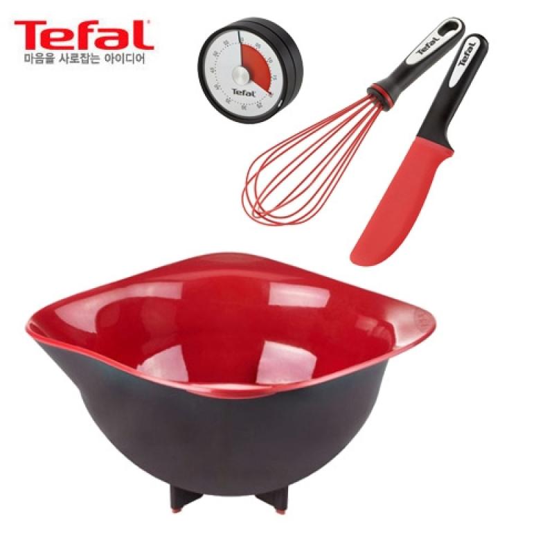 [Tefal Licensed] Ingenio 4 Silicone Baking Cookware Set (Mixing Bowl + Whisk + Timer + Baking Spatula) - intl Singapore