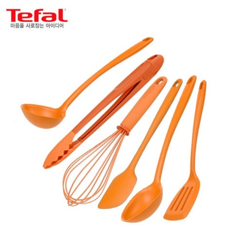 [Tefal Licensed] Premium Silicone 6 Cookware Set (Ladle + Tongs + Whisk + Spatula + Spoon + Turner) - intl Singapore