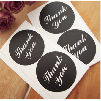 Harga Thank you stickers black biscuit bag sealing stickers