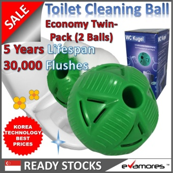 TOILET CLEANER BALL (Eco-Twin Pack)?5 Years/30000 Flushes?KoreaTechnology?Fights Plaque/Stains?Kills Bacteria?Removes Odours?ChemFree?Korea/EU/USA Sellout