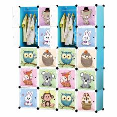 Tupper Cabinet 20 Cubes Jungle Cartoon DIY Wardrobe Organizer - Sky Blue