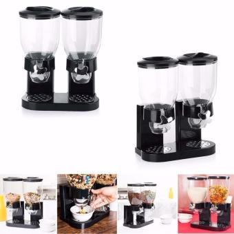 Twin Cereal Dispenser Double Cereal Dispenser - Black