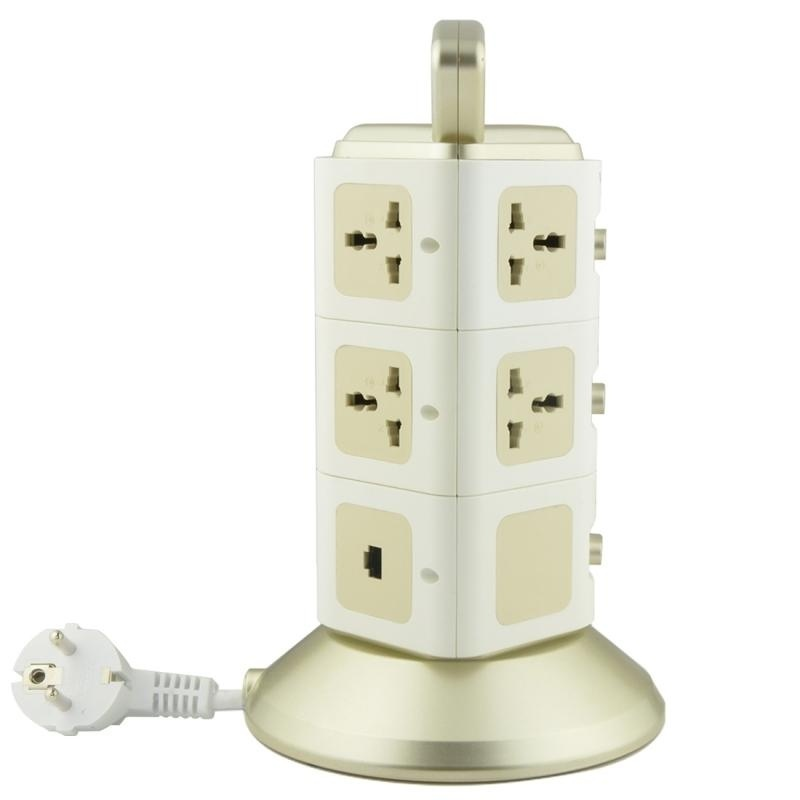 VONETS WiFi-SB-L3 3 Layers With 8 Outlets + 2 USB Ports + RJ45 Port 300Mbps WiFi Repeater Smart Power Sockets, EU Plug, Cable Length: 2m(Gold) - intl