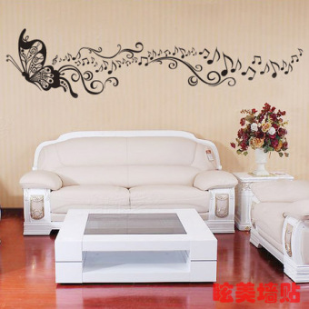 Wall Stickers Furnished Living Room Background Piano Line Music Butterfly Tree Decorative Childrens