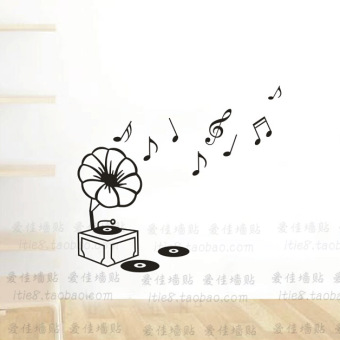 Wall Stickers Living Room Background Notes Music And Dance Training Classroom Furnishing Phonograph