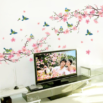 Warm and romantic pastoral living room TV background waterproof adhesive paper wall stickers