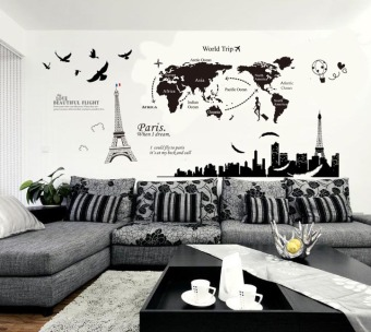 World Map Large Living Room Sofa Backdrop Stickers Wall Stickers Part 86