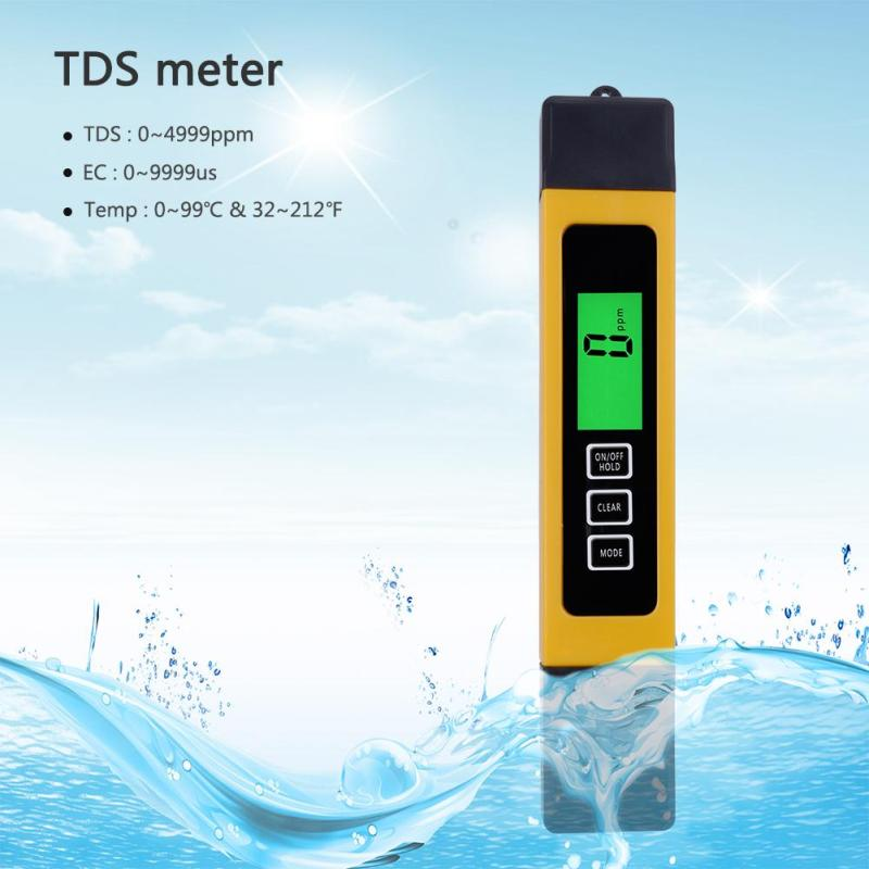 yieryi Filter Water Quality Purity, 0-9990 ppm,3 in 1, LCD digital tds 3 meter, Tds, Ec and Temp Meter, reverse osmosis - intl