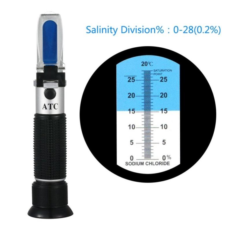 yieryi Handheld Refracting Optical Salt Concentration Meter 0-28 Food Sodium Chloride Mariculture Salinity Refractometer - intl