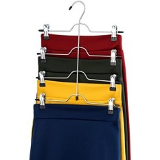 Zober Space Saving 4 Tier Trouser Skirt Hanger (Set of 3) Sturdy Luxurious Chrome