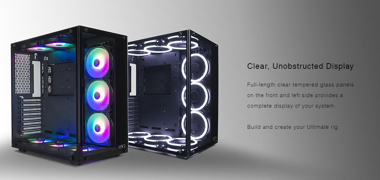 Tecware VXR Dual Chamber TG Case + FREE 3 x ARC F2 ARGB Fans + Hub