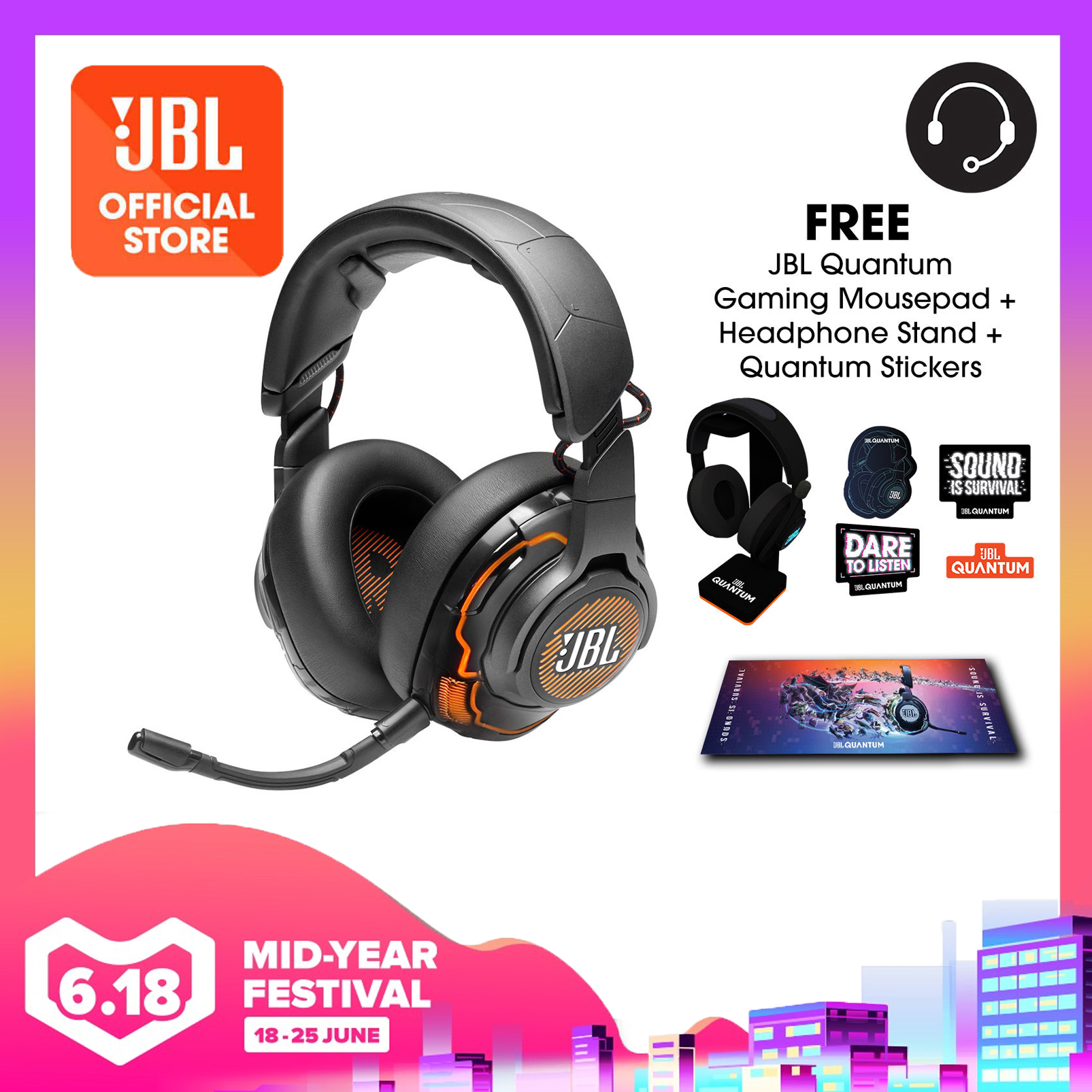 JBL Quantum One USB wired over-ear professional gaming headset with head-tracking enhanced JBL QuantumSPHERE 360 + Quantum Headphone Stand + Gaming Mouse Pad + Quantum Stickers | Why Not Deals
