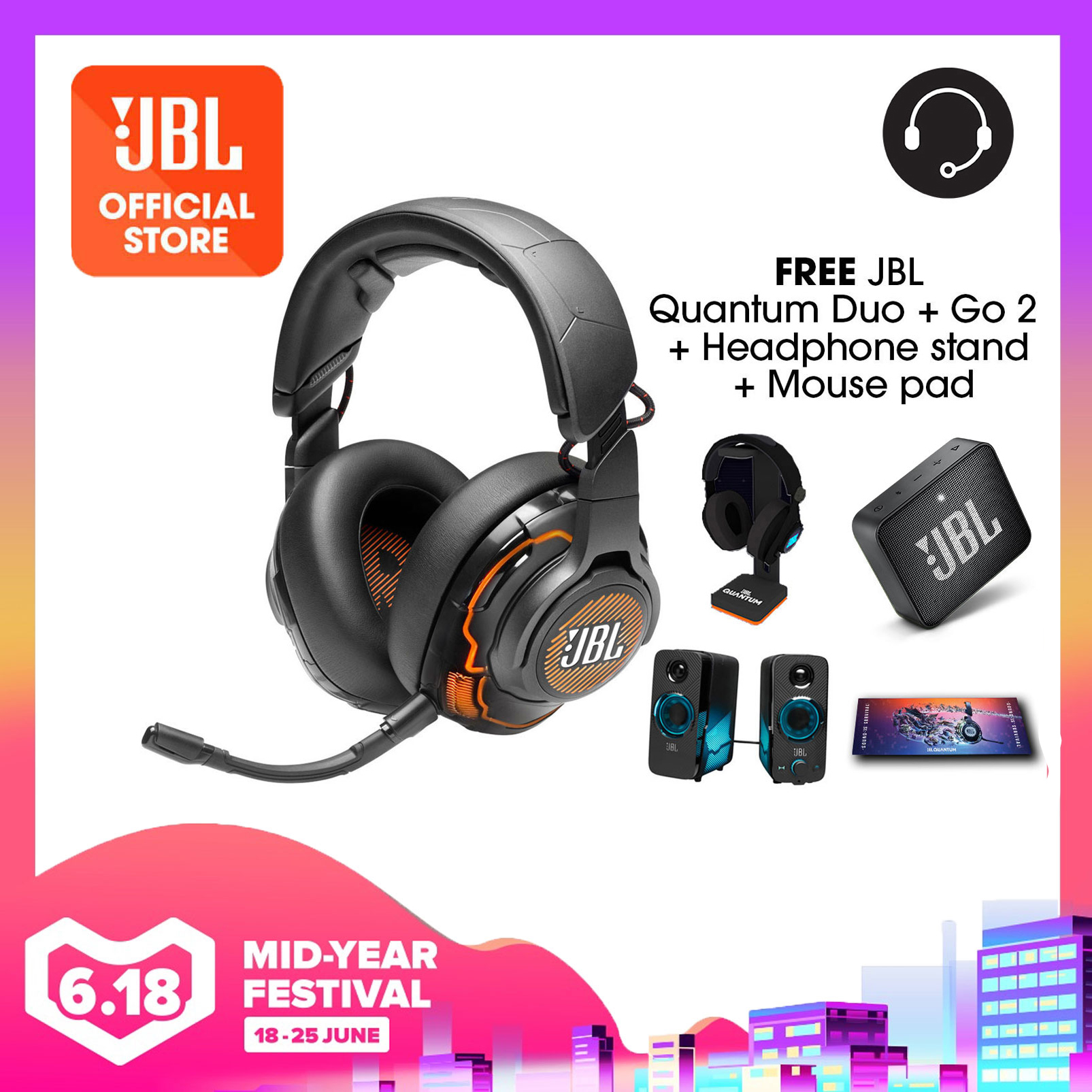JBL Quantum One USB wired over-ear professional gaming headset with head-tracking enhanced JBL QuantumSPHERE 360 Bundle (Quantum Duo + Headphone Stand + Gaming Mouse Pad + JBL GO 2 | Why Not Deals