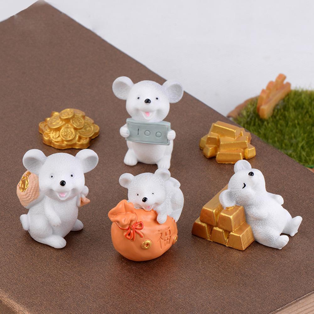 Home Decor Fairy Garden Gold Miniature Mice Animal Model Money Mouse Figurine