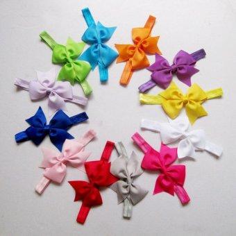 12pcs Baby Girl Satin Headband Hair Bow Band Accessories - intl - 4