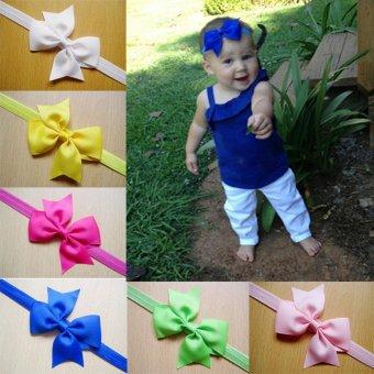 12pcs Baby Girl Satin Headband Hair Bow Band Accessories - intl - 2
