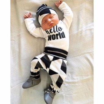 3pcs Baby Boy Hello World Color Block Shirt Pants Hat Clothes Set -intl - 2