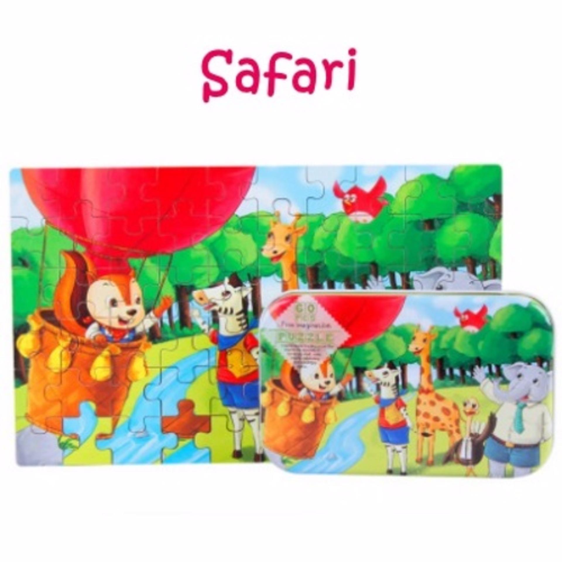 60 pieces wooden jigsaw puzzle in tin box safari lazada singapore