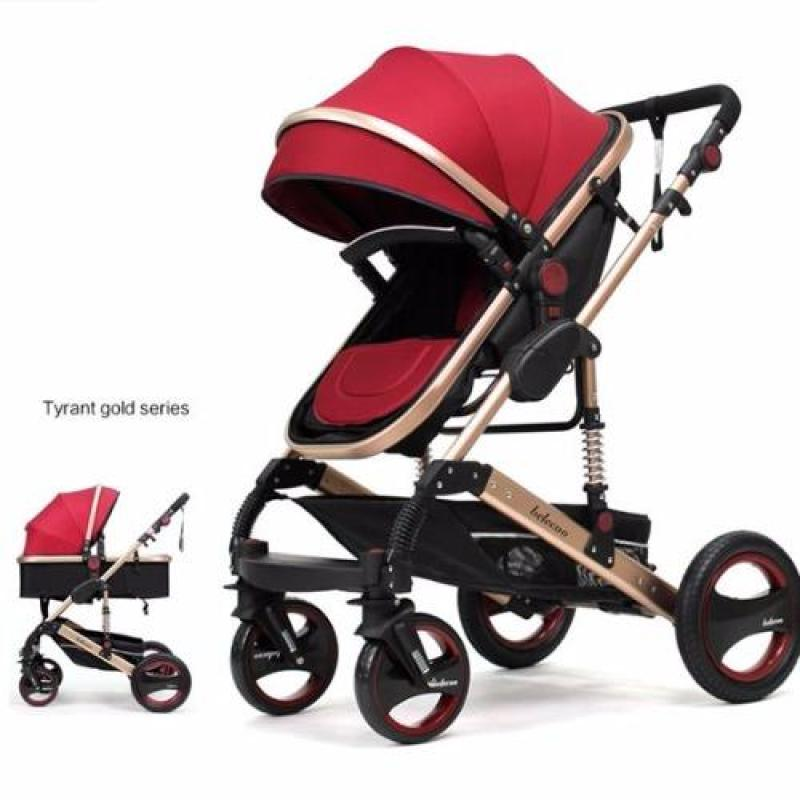 Belecoo 2017 Gold Suspension Frame German Design Stroller All Air Tyres (Red) Singapore