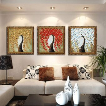 Chinese Lucky Tree Pachira Abstract Pure Hand Painted Oil Painting Triptych  Mural Paintings Living Room Dining Part 97