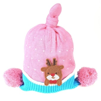Christmas Deer Baby Knitting Hat Autumn Winter Warm Baby Boys Girls Hat - intl