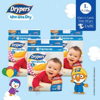 Drypers Wee Wee Dry L 62s x 3 packs (9 - 14kg) 186 pcs/box
