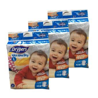 Free 18 pcs + Drypers Wee Wee Dry Tape L62 (3 pack)