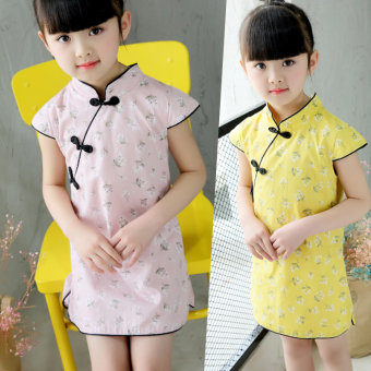 Girls cheongsam dress short-sleeved show clothes summer 2017 Newstyle children's costume dress baby princess skirt - 2