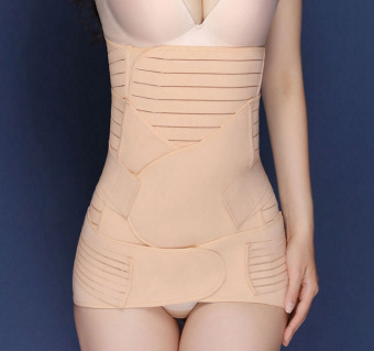 Haotom Premium 3pcs Set Haotom Body Shaper Waist Trimmer Postpartum Support Belt Bengkung Modern Corset Girdle Belts(Apricot) - 3