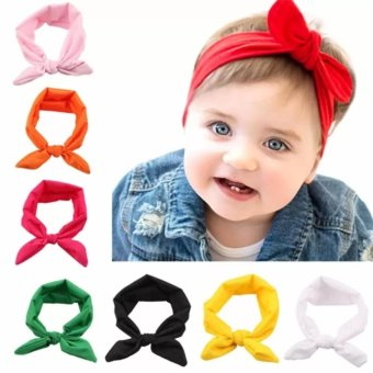 Harga Welink 8x Baby Girl Elastic Turban Headbands Head Wrap Rabbit Ear Hair Band - intl